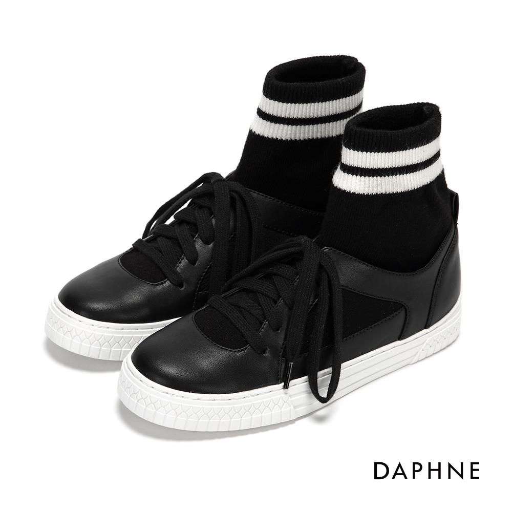 達芙妮DAPHNE 休閒鞋-連襪造型綁帶休閒鞋-黑