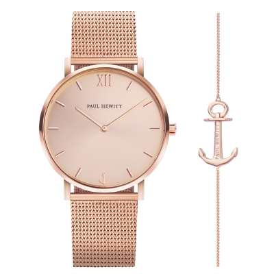 PAUL HEWITT Sailor Line船錨米蘭帶手錶手鍊禮盒組-玫瑰金/39mm