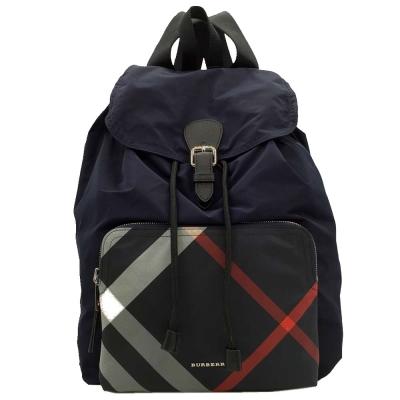 BURBERRY Rucksack 尼龍皮飾邊格紋拉繩後背包(深藍色)