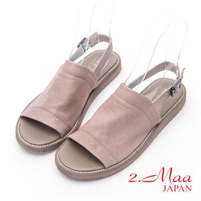 2.Maa - 仿舊風格休閒羊皮涼拖鞋 - 可可