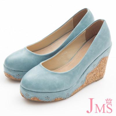 JMS-典雅素面花滾邊楔型娃娃鞋-藍色