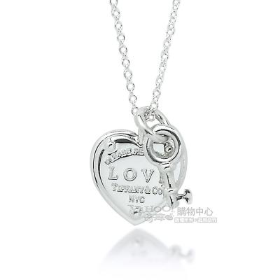 Tiffany&Co. LOVE刻字愛心鎖鑰匙925純銀項鍊