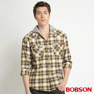 BOBSON 男款刷毛格紋長袖襯衫(黃30)