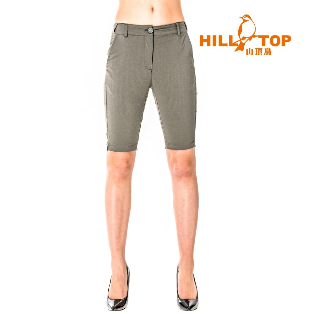 【hilltop山頂鳥】女款吸濕排汗抗UV彈性五分褲S09F65-灰綠