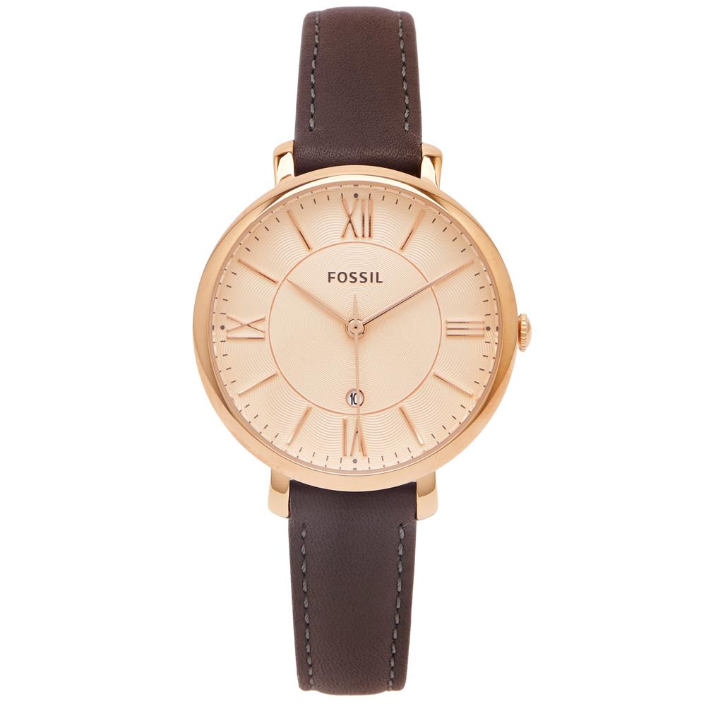 FOSSIL  迷人優雅風皮革女性手錶(ES3707)-香檳色面/35mm