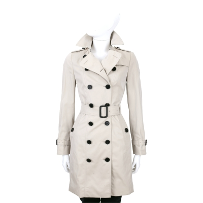 BURBERRY QUEENSHOUSE 灰色棉質風衣外套(附腰帶)