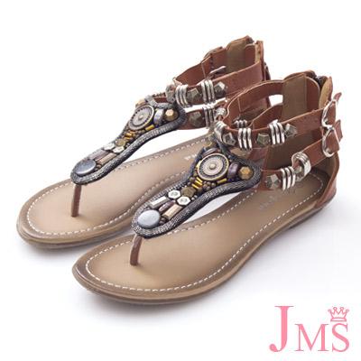JMS-波希米亞風串珠夾腳 羅馬涼鞋-棕色