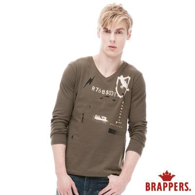 BRAPPERS-男款-男用V領老鷹印花長袖上衣