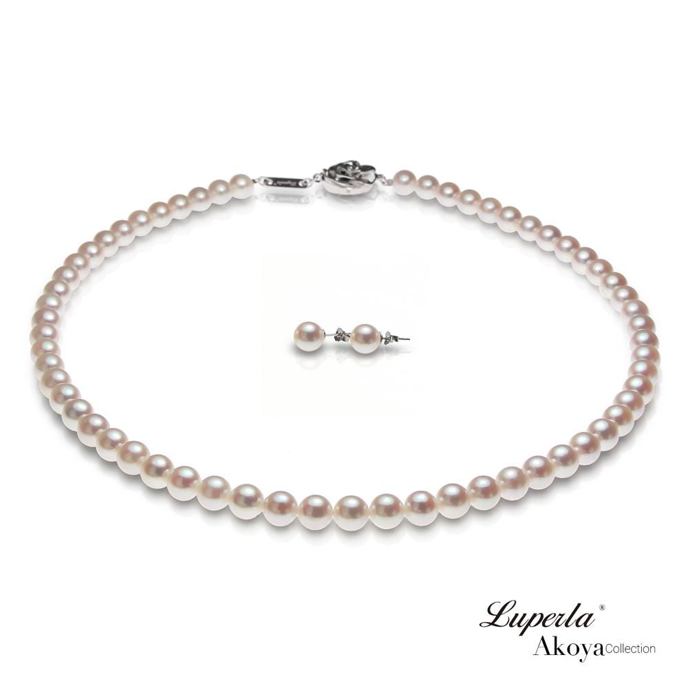 大東山珠寶 日本Akoya海水珍珠系列項鍊耳環套組- 純潔與永恆7-7.5mm
