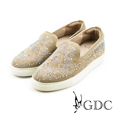 GDC-珍珠水鑽滿版真皮平底懶人休閒鞋-卡其色