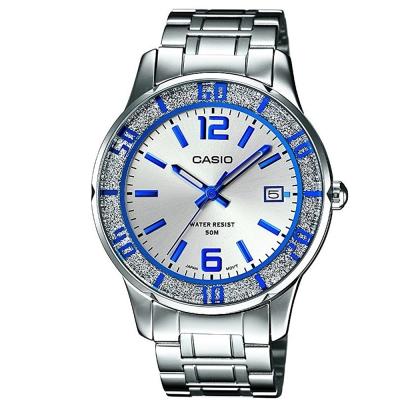 CASIO 簡約風采閃亮時尚日曆指針腕錶(LTP-1359D-7)銀白X藍時刻37mm