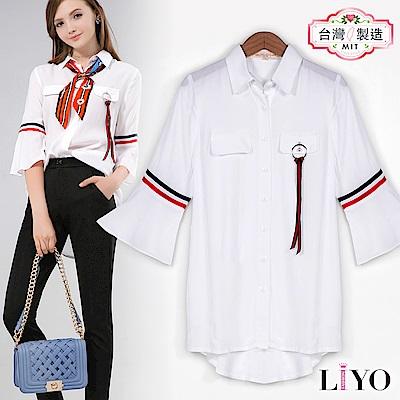 襯衫MIT海軍風喇叭袖寬鬆OL女白透氣襯衫LIYO理優E815012 S-XL