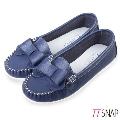 TTSNAP莫卡辛-MIT全真皮甜美蝴蝶結平底休閒鞋 藍