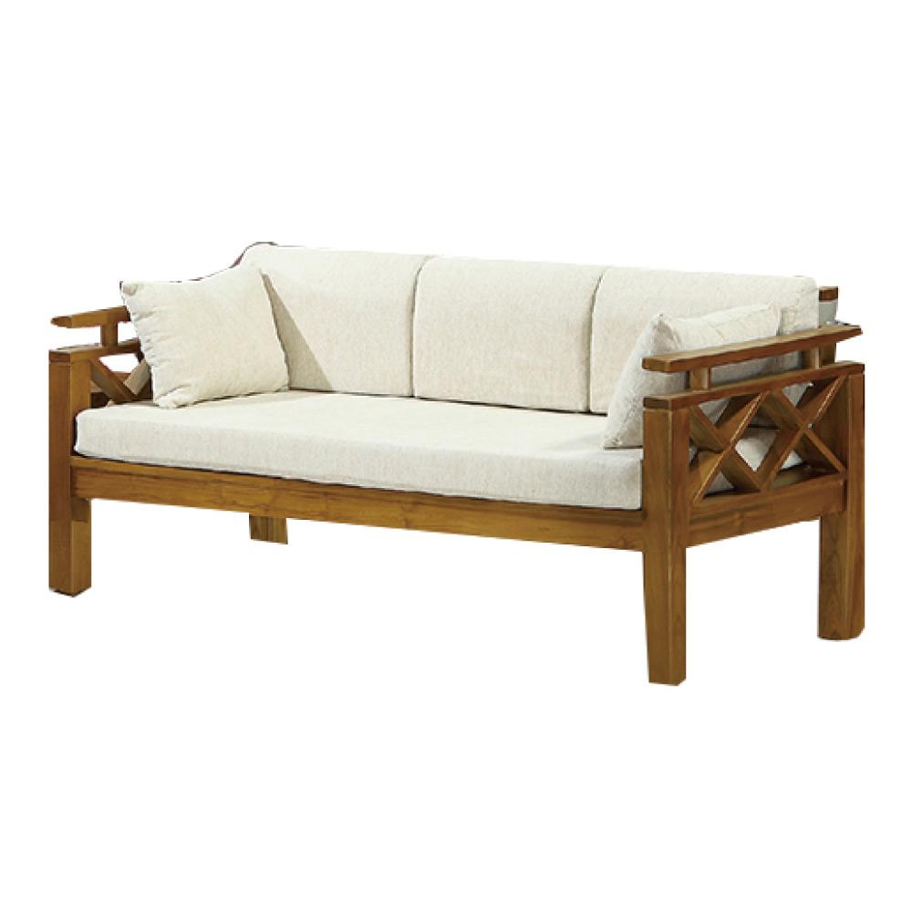 品家居 格蒂思亞麻布實木三人椅(不含椅墊)-168x76x83cm-免組