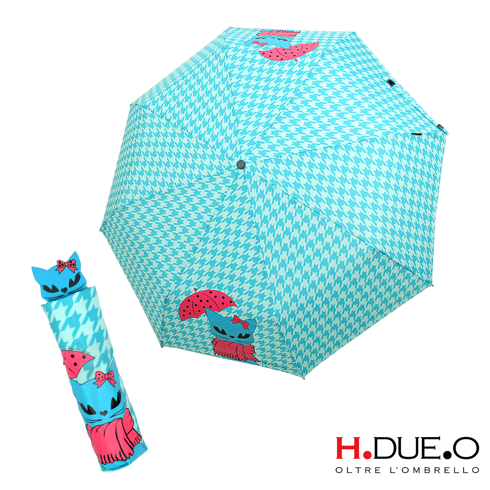 義大利H.DUE.O 俏麗黑貓抗UV三折手開傘-藍色