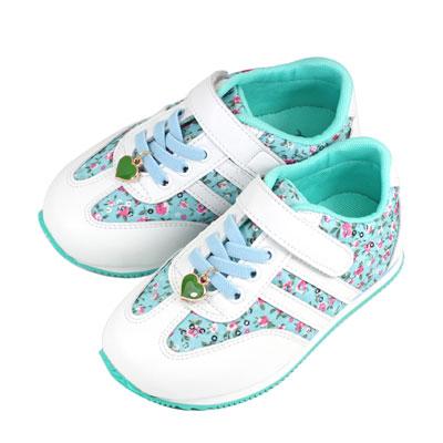 Swan天鵝童鞋-中童-花布愛心吊飾輕量運動鞋 0416-藍