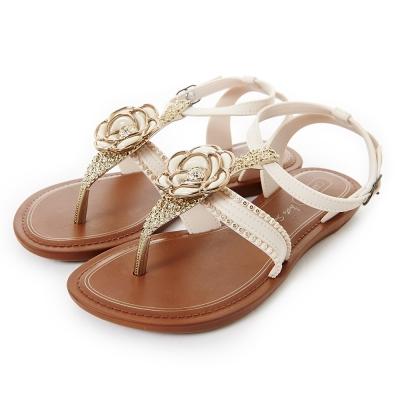 GRENDHA 華麗山茶花踝帶時尚平底涼鞋-米白