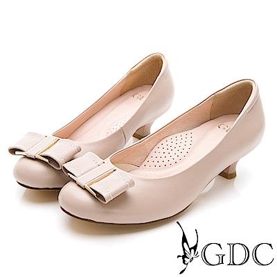 GDC-真皮典雅氣質金邊蝴蝶結圓頭低跟鞋-裸色