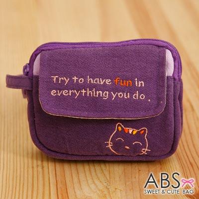ABS貝斯貓 - HaveFun微笑貓咪拼布 雙層複合功能零錢包88-178 - 葡萄紫