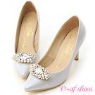 D+AF 幸福典藏.華麗寶石釦飾美形高跟鞋*灰