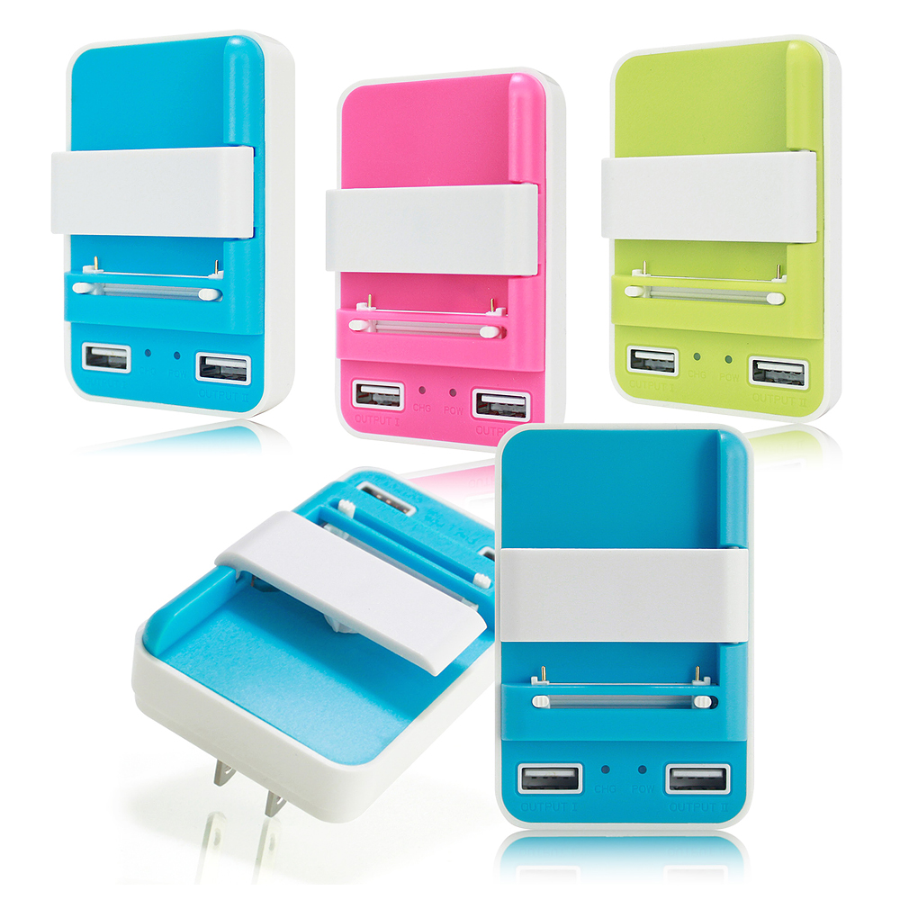HANG多功能電池萬用充+雙USB輸出2A充電器