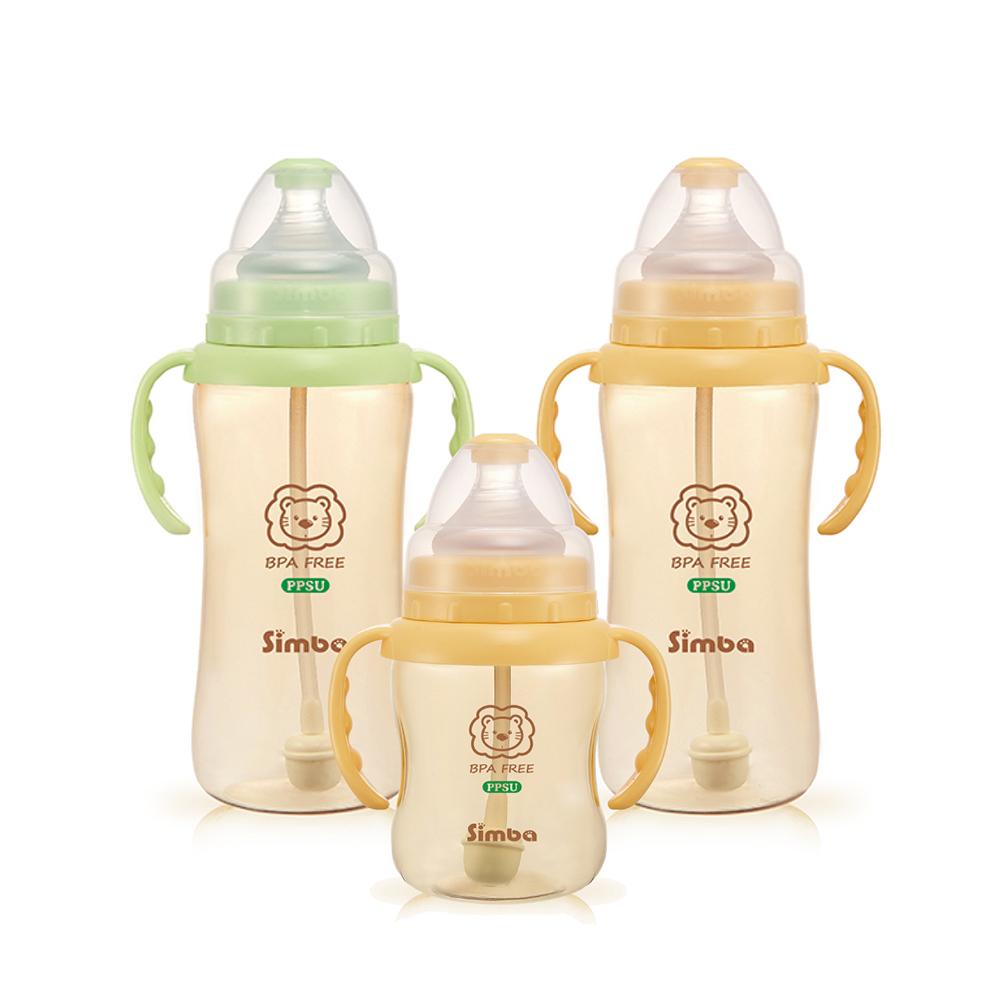 小獅王辛巴 PPSU健康自動把手寬口葫蘆奶瓶經濟組(2大1小)