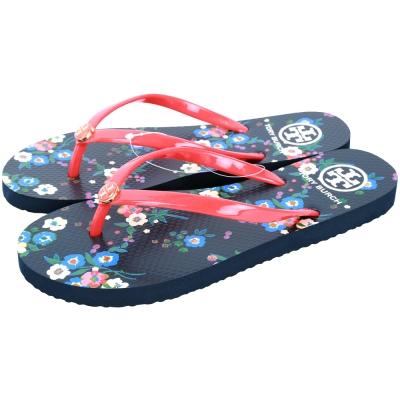 TORY BURCH Thin 印花設計配色夾腳拖鞋(紅藍色)