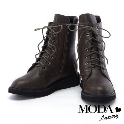 中筒靴 MODA Luxury 街頭率性魅力皮革綁帶中筒軍靴-咖