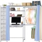 巴塞隆納-E90型防塵伸縮電腦桌衣櫥架(附抽屜櫃)