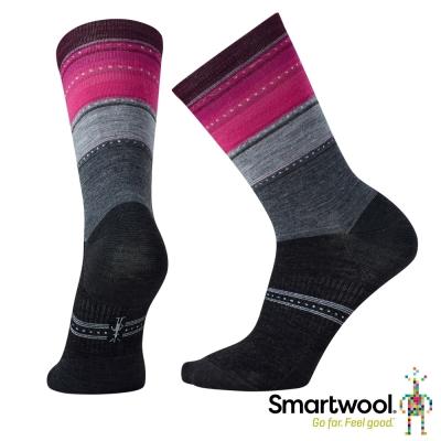 SmartWool 女 拉威西條紋中長襪 中性灰