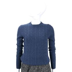 Andre Maurice  藍色麻花針織長袖上衣(100% CASHMERE)