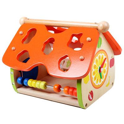 【樂兒學】生活認知益智學習木製積木數字/形狀/動物/天氣/時間小屋