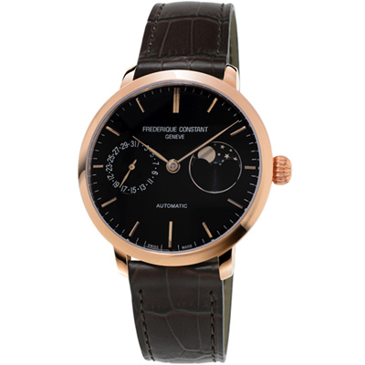 康斯登 CONSTANT 自製機芯超薄月相腕錶-38mm/黑x咖啡