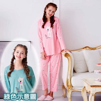 睡衣 精梳棉柔針織 長袖兩件式睡衣(67205)藍綠色 蕾妮塔塔