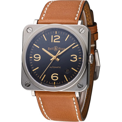 Bell & Ross 經典時尚飛行械機腕錶-黑x咖啡色/39mm
