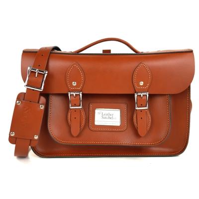 The Leather Satchel 英國手工牛皮劍橋包 肩背後背包 倫敦棕  14 吋