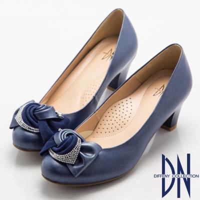 DN-優雅浪漫-低調奢華鑽飾蝴蝶結高跟鞋-藍