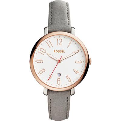 FOSSIL Jacqueline 風采時尚女錶-白x玫塊金框x灰/36mm