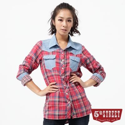 5th STREET 撞色格子襯衫-女-紅色