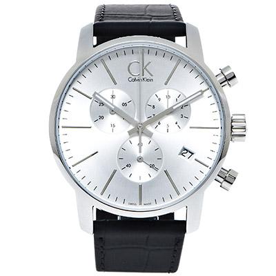 CK 城市極簡時尚皮革男性三眼手錶( K2G271C6)-銀面x黑色/44mm