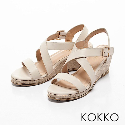 KOKKO-溫柔海風交叉帶真皮楔型涼鞋-牛奶白