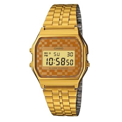 CASIO 城市經典超薄數位錶(A159WGEA-9)-金色x咖啡格面/33.2mm