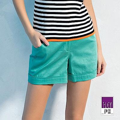 ILEY伊蕾 透氣棉質造型口袋百搭短褲(綠)