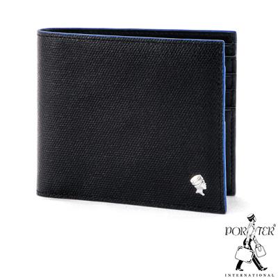 PORTER-大膽玩色BOLD簡約輕薄真皮短夾-藍