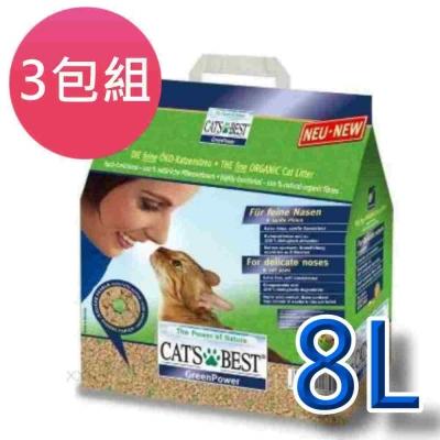 美國凱優CAT'S BEST《強效凝結除臭木屑砂》8L 三包組