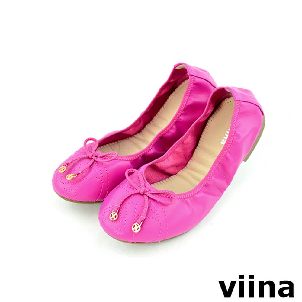 viina 可愛小logo蝴蝶結摺疊鞋MIT-桃紅色
