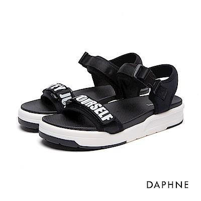 達芙妮DAPHNE 涼鞋-字母撞色魔鬼氈釦帶式涼鞋-黑