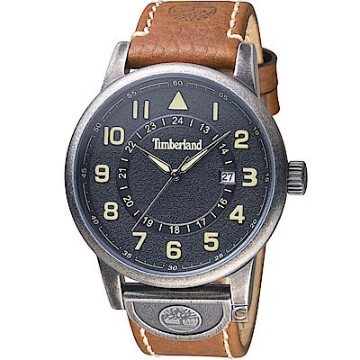 Timberland 西部牛仔時尚腕錶-黑x棕/45mm