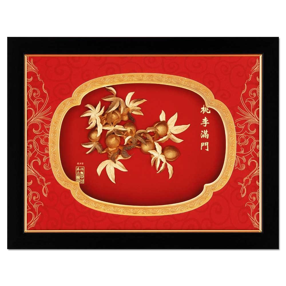 鹿港窯-立體金箔畫-桃李滿門(鴻運系列15cmx20cm)
