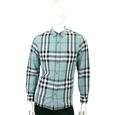 BURBERRY 扣領格紋棉麻混紡長袖襯衫(男款/淺綠色)